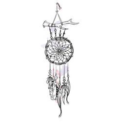 With hand drawn dream catcher vector