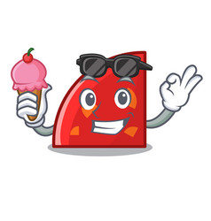 With ice cream quadrant character cartoon style vector