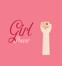 woman fist hand and inscription girl power vector image