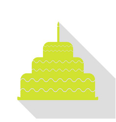cake with candle sign pear icon with flat style vector image vector image