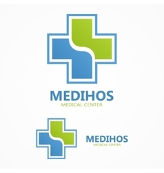 Cross plus medical logo vector image