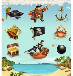 Sea pirates funny character and objects icon set vector image