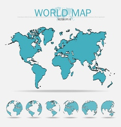 World map with earth globes vector image vector image