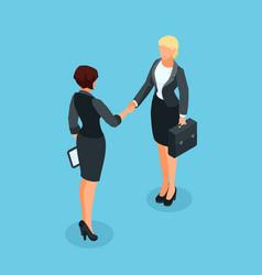 3d businesswomen handshake vector