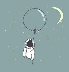 cute astronaut flies with balloon vector image