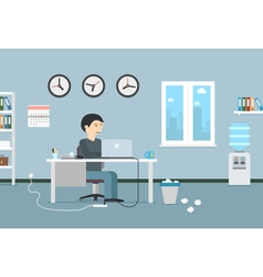Happy businessman working with laptop Office vector image