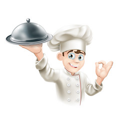 happy chef holding platter vector image