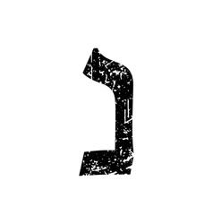 Hebrew letter Nun Shabby black font The Hebrew vector image vector image
