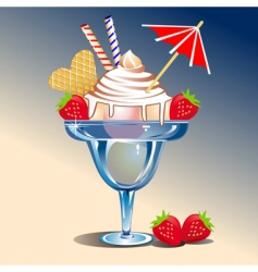 ice cream with strawberries vector image vector image