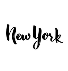 new york hand-lettering calligraphy hand drawn vector image