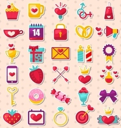 Set of Modern Flat Design Icons for Valentines Day vector image vector image