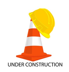Traffic cone and building helmet vector image vector image