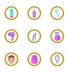 barber shop equipment icons set cartoon style vector image