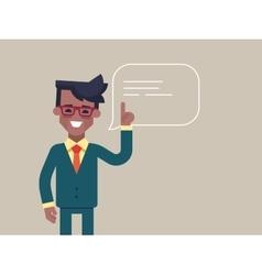 Black man holding up his index finger vector