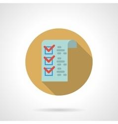 Checklist button flat color design icon vector image