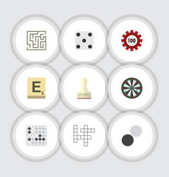 flat icon play set of chequer guess poker and vector image vector image