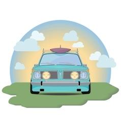 Retro car with a surfboard vector image vector image