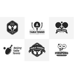 set of vintage table tennis logos and badges vector image vector image