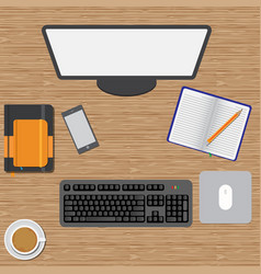 workspace wooden table vector image vector image