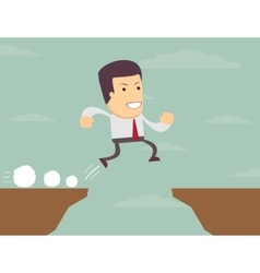 Businessman is jumping over the abyss vector
