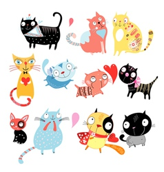 different cats vector image