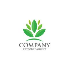green leaf ecology logo concept vector image vector image