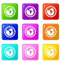 round arrows around world planet icons 9 set vector image