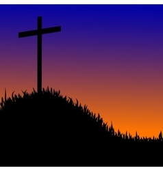 Wooden cross on a hill the sunset background vector image