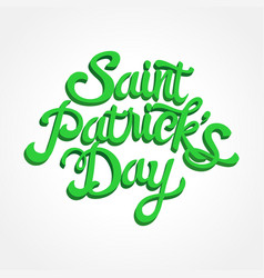 3d effect text of saint patricks day on white vector image