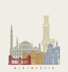 Alexandria skyline poster vector