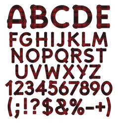 Alphabet letters numbers and signs from tartan vector