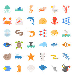 Aquatic ocean life flat icon set vector