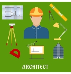 Architect profession with flat icons vector