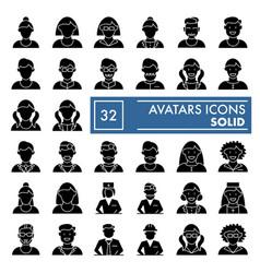 Avatars glyph icon set character symbols vector