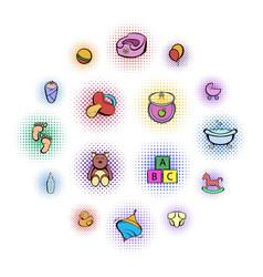 baby comics icon set vector image
