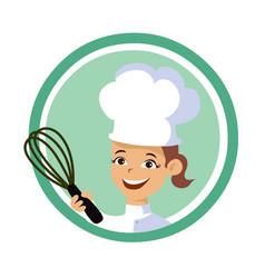 Backery woman chef logo vector