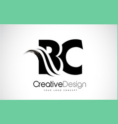 Bc b c creative brush black letters design with vector