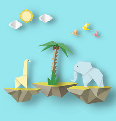 Birds elephant giraffe and levitate island vector
