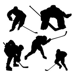 black hockey player silhouette on white background vector image