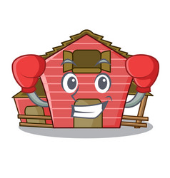 Boxing character red barn building with haystack vector