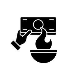 Burning money black glyph icon vector