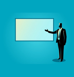 Businessman giving a presentation on white board vector