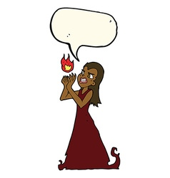 Cartoon witch woman casting spell with speech vector