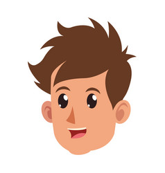 character face head boy happy vector image