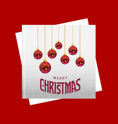 christmas card with red background and christmas vector image