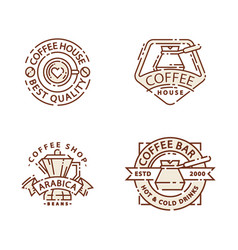 coffee badge food thin line lettering for vector image