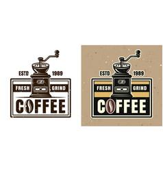 Coffee grinder round emblem badge or logo vector
