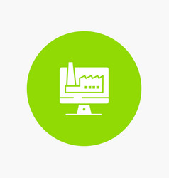 Computer building monitor factory white glyph icon vector