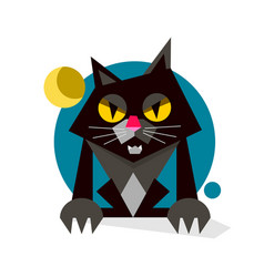 creative black cute cat logo design vector image