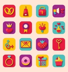 Creative Flat Design Icons for Happy Valentines vector